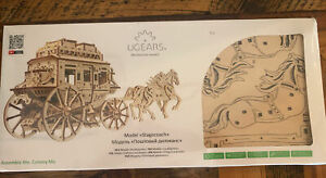 UGEARS Stagecoach 3D Puzzle Mechanical Model Wooden Brainteaser NEW SEALED