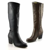 Ladies Womens Knee High Block Heel Zip Up Winter Riding Biker Boots Shoes Size