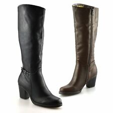 Ladies Womens Knee High Zip Up Block Heel Winter Riding Biker Boots Shoes Size