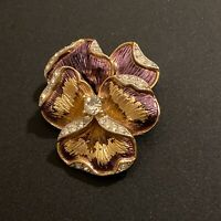 Vintage Crown Trifari Small Gold Tone Purple Enamel Rhinestone Pansy Pin Brooch
