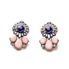 Stone Stud Pink Teardrop Beads Earrings E1887 Vintage Gold Royal Blue Glass Gems