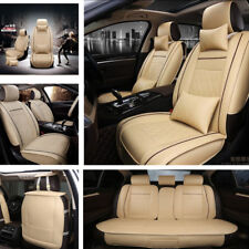 5-Seats Car Seat Cover Full Front+Rear Cushion Deluxe PU leather W/Pillow Beige