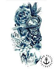 ►► Tatouage Temporaire Éphémère Réaliste tête de mort, ancre, horloge, roses