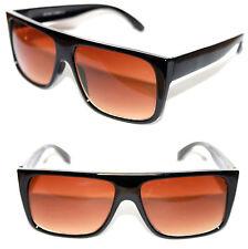 Men's Flat top Sunglasses Super polished Black Frame brown Lens Retro Style 664