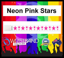 100 x Tyvek Neon Pink Stars Party Function Event Disco Rave Security Wristbands