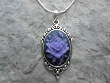 STUNNING (purple rose on black) CAMEO NECKLACE!! QUALITY- .925 SILV PLATED CHAIN