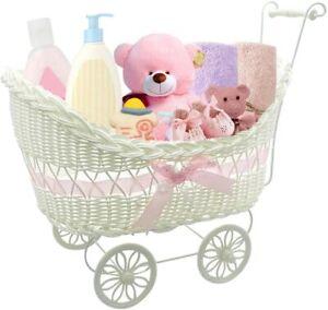 Christmas Gift For Boy & Girl Baby Pram Basket Wicker Hamper Baby Shower Xmas