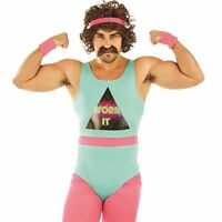 80s Fitness Instructor Mens Fancy Dress Neon Aerobics Sports Adults Costume New