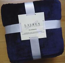 Ralph Lauren NAVY BLUE Micromink *KING BED BLANKET Fleece mink RL Emb Logo NEW