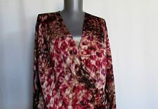 New NWOT Anne Klein cross over pink red brown purple no iron washable shirt L