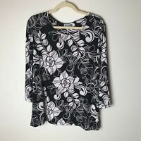 JM Collection Women's Top Size Large Floral 3/4 Sleeves Casual Work Career