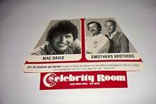Vtg Mac Davis Smothers Brother Celebrity Room MGM Grand Hotel Las Vegas Adv Card
