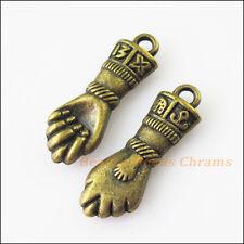 2Pcs Antiqued Bronze Tone 3D Hand Fist Charms Pendants 12x35mm