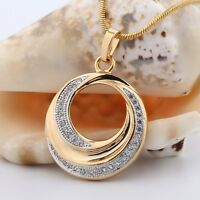 Antique promise fit 18k Gold Filled Eye-catching white sapphire pendant necklace