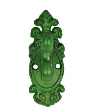 Distressed Green Fancy Cast Iron Wall Hook French Cottage Chic Antique Design
