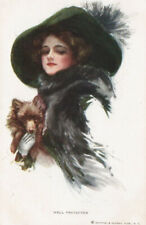 A/S Harrison Fisher ~ Pomeranian Dog Art Deco Glamour Lady Fashion Fancy Hat Pc