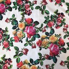 Rose Print Satin Fabric Flowers Craft Cushions Sewing Dressmaking Pink Yellow