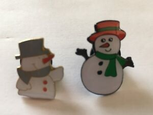 Two Snowman Christmas Pin Badges