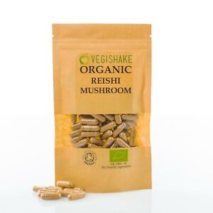 Organic Reishi Mushroom HPMC Capsules Triterpenoids Peptidoglycans Vegan Kosher