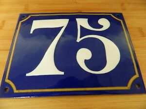 AUTHENTIC FRENCH ENAMEL HOUSE / DOOR NUMBER  *75