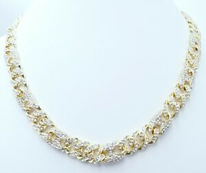 13 MM BUST DOWN MIAMI CUBAN GUCCE LINK CHAIN 46 CT VS1 CLARITY CRYSTALS HANDMADE