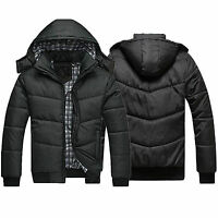 Mens Puffer Jacket Warm Overcoat Outwear Padded Hoodie Winter Down Coat Black