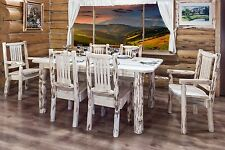 Rustic LOG Kitchen Dining Set 6 foot Table 6 Chairs Amish Made Unfinished Pine