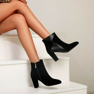 Women's Pointed Toe Suede Winter Shoes Zip Ankle Boots Occident Block High Heels