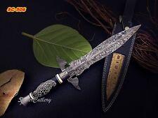 Super Cutlery Custom Damascus Art Dagger Knife Bull Horn Handle Scrimshaw Eagle