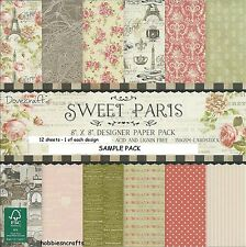 DOVECRAFT SWEET PARIS PAPERS 8 X 8 SAMPLE PACK  1 OF EACH DESIGN - 12 SHEETS