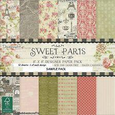 DOVECRAFT SWEET PARIS papiers 8 x 8 sample pack 1 de chaque design - 12 feuilles