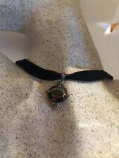 Vintage Deco Sterling Real Marcasite Red Garnet CZ Necklace Choker