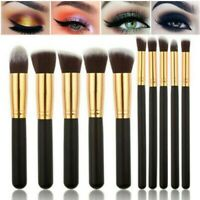 10pcs Makeup Foundation Eyebrow Powder Cosmetic Blending Brush Black & Silver