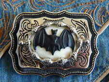 NEW HANDCRAFTED VAMPIRE BAT HALLOWEEN SILVER BELT BUCKLE GOTH DRACULA WESTERN