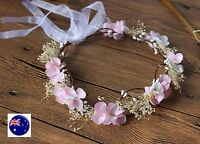 Women Flower Girl babys breath wedding Pink Flower Hair Headband crown Garland