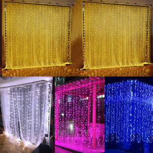 3*3M 300LED Window Curtain Icicle String Fairy Light Outdoor Wedding Party Decor
