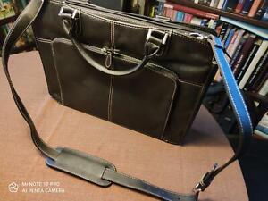 Damen-Business-Leder-Tasche von TCM, schwarz,  mit 2 Henkeln + Schulterriemen