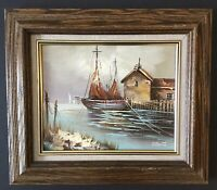 Beautiful Vintage Painting Oil on Canvas Framed~Signed G. Westae~River~Bo