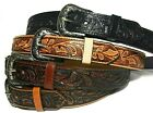 WESTERN LEATHER BELT. COWBOY RODEO CASUAL LEATHER BELT FLORAL EMBOSSED