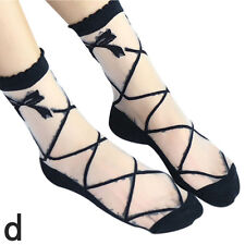 Gorgeous Lace Ruffle Ankle Socks Ultrathin Sheer Silk Cotton Elastic Socks