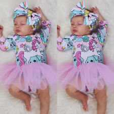 UK Toddler Baby Kid Girl Long Sleeve Unicorn Print Party Pageant Dress Clothes