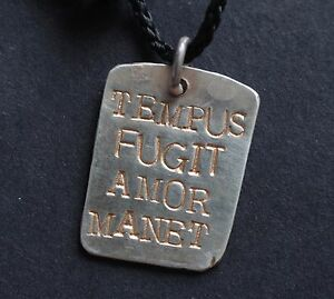 STERLING SILVER TEMPUS FUGIT AMOR MANET HAND MADE DOG TAG UNISEX PERSONALISED