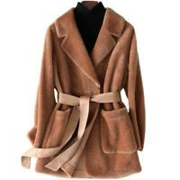 Womens Leather Shearling Lamb Fur Coat Bomber Motorcycle Jacket parkaS winter SZ