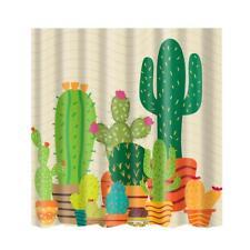Bathroom Shower Curtain Cactus Sheer Panel Decor Bath Curtain +12 Hooks