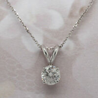 "1.00 ct Round Cut Solitaire 14k White Gold Over Diamond Pendant With 18"" Chain"
