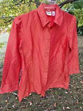 SALE @ Nearly New CHICO'S Silk Tangerine Orange Top Blouse Women Sz 1 M 8 10