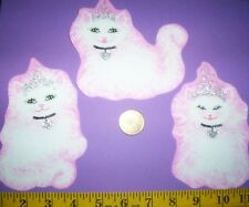 New! Cool! Princess Kitty Cats IRON-ONS FABRIC APPLIQUES IRON-ONS