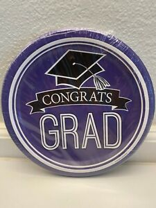 "Congrats Grad Dinner Plates 18- 8 3/4"" Premium Strength Purple Graduation"