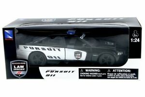 Dodge Charger Police Car, Black - New Ray 71903 - 1/24 Scale Diecast Model