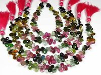 "NATURAL MULTI COLOR TOURMALINE BRIOLETTE PEAR SHAPE BEADS GEMSTONE 8"" GV-400"